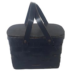 Vintage Small Navy Blue Painted Picnic Basket