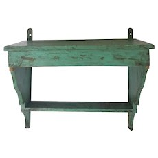 Vintage Primitive Turquoise Painted Hanging Shelf