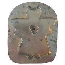Vintage Primitive Folk Art Tin Angel with Heart Cookie Cutter