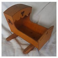 Vintage Primitive Folk Art Hooded Doll Cradle with Clover Cut-Outs