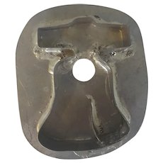 Unusual Vintage Primitive PA. Folk Art Tin Flat Back Liberty Bell Cookie Cutter