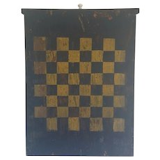 Vintage Primitive Folk Art Midnight Blue & Yellow Checkers Chess Gameboard