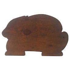 "Rare Form Large 18 1/2"" Antique Primitive PA. Folk Art Rabbit Cutting Board"