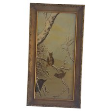 Diminutive Antique Early 1900's Folk Art Painting of Birds in Winter