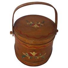 Vintage Primitive Folk Art Tole Painted Firkin Bucket