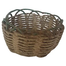 Small Vintage Primitive Green & Oyster White Painted Basket