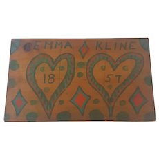 Vintage Primitive PA. Folk Art Love Token Whimsy with Hearts and Date of 1857