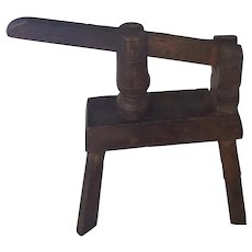 Unusual Vintage Primitive Wood Olive Press