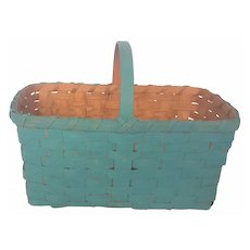 Vintage Primitive Robin's Egg Blue Painted Basket