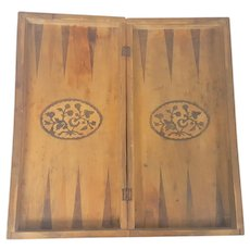 Vintage Folk Art Folding Backgammon Board with Floral Design from My Collection