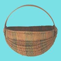 Vintage Primitive Folk Art Multi-Color Splint 1/2 Melon Basket
