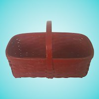 Vintage Primitive Red Painted Market Basket