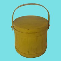 Vintage Primitive Firkin with Lid in Yellow Paint