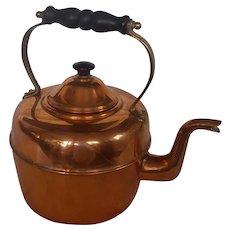 Vintage Primitive English Copper Tea Kettle with Serpent or Snake Spout