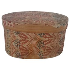Antique 19th C. Primitive Folk Art Oval Wallpaper Box