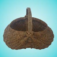 Antique Primitive Folk Art Buttocks Basket with God's Eye