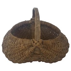 Antique Primitive Folk Art Buttocks Basket with God's Eye