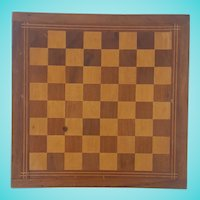 Vintage Primitive Folk Art Inlaid Checkers/Chess Game Board