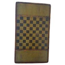 Vintage Primitive Folk Art Green & Black Checkers/Chess Game Board