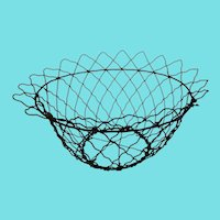 "Large 13"" Diameter Vintage Primitive Folk Art Bowl Form Wire Basket"