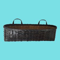 Unusual Vintage Primitive Folk Art Black Painted 2-Handle Wall Basket