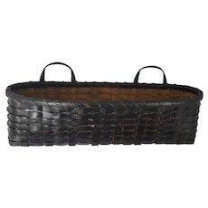 Unusual Vintage Primitive Folk Art Black Painted 2-Handle Wall Basket