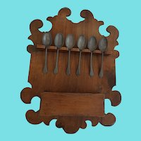 Vintage Primitive Folk Art Carved Spoon Rack Candle Box w/6 Pewter Spoons