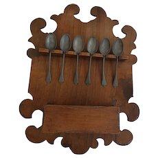 Vintage Primitive Folk Art Carved Spoon Rack Candle Box w/6 Pewter Spoons