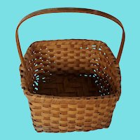 Vintage Primitive Folk Art Large Square Shaped Gathering Basket