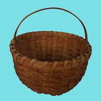 "Vintage Primitive Folk Art Large Round 13"" Diameter Gathering Basket"