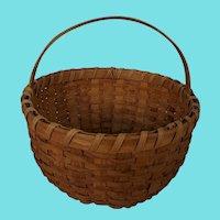 "Vintage Primitive Folk Art Large Round 13"" Diameter Gathering Basket"