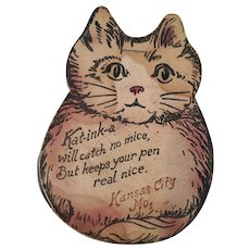 "Cute Vintage ""Kat-ink-a"" Kansas City Souvenir Cat Pen Wipe"