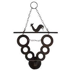 Vintage Folk Art Hammered Iron Hanging Rooster Candle Holder