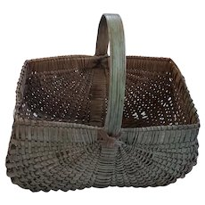 Late 19th-Early 20th C. Large Primitive Gathering Basket in Original Green Paint