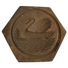 Antique Folk Art Hexagon Shaped Swan Butter Print