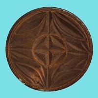 Vintage Primitive Folk Art Cross & Leaf Design Butter Print
