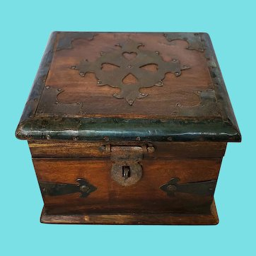Antique Folk Art Wooden Strong Box w/Metal Decoration Including Heart Cut-Outs