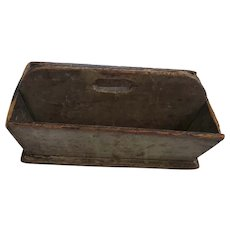 19th C. PA. Super Primitive Knife Box Cutlery Tray in Original Putty & Black Paint