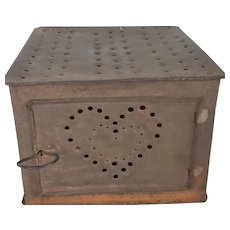 Antique Primitive Folk Art Tin Foot Warmer with Heart Design