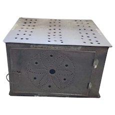 19th C. Primitive Folk Art Radial Hex Design Punched Tin Foot Warmer