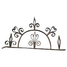 Antique 18th C. Folk Art Wrought Iron Hanging Utensil Rack w/ Fleur-de-Lis & Heart Design