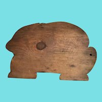 "Rare Form Large 18 1/2"" Antique Primitive PA. Folk Art Rabbit Cutting Board"