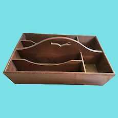 Antique Handmade Large Size Walnut Cutlery Tray with 6 Compartments