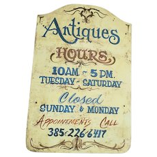 Authentic Vintage Mid 20th C. Tombstone Form Antiques Trade Sign