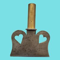 Antique 19th C. Folk Art Double Heart Design Steel & Brass Food Chopper