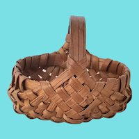 "Rare Miniature 2 1/2"" Vintage Folk Art Buttocks Basket"