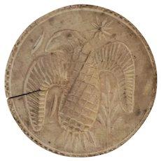 """Antique Folk Art Large 4 1/2"""" Hand Carved Eagle Butter Print/Stamp"""