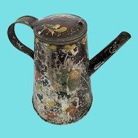 Antique 19th C. Folk Art Toleware Coffee Pot in Original Decoration
