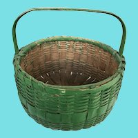 Vintage Primitive Gathering Basket in Old Green Paint