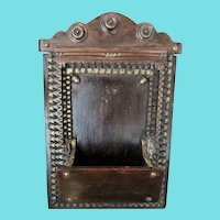Vintage Folk Tramp Art Wall Box w/ Gold Acorn Decoration